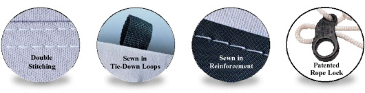 Double Stitching, Sewn-In Tie-Down Loops, Sewn-In Reinforcements, Patented Rope Lock